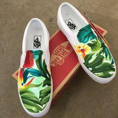 Custom Painted Tropical Slip On Vans by Blake Barash Painted Canvas Shoes, Painted Vans, Custom Painted Shoes, Painted Sneakers, Hand Painted Shoes, Vans Shoes Fashion, Vans Shoes Women, Custom Vans Shoes, Girls Shoes