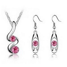 Glucky : S122 Women Jewelry Set Rose Necklace Earring Sets Nickel Free New Design Set Jewelry *** Learn more by visiting the image link.