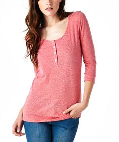 Take a look at this Heather Watermelon Scoop Neck Button-Front Tee on zulily today!