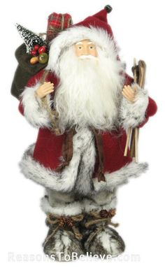 "16"" Plush Santa with Skis and Toybag 