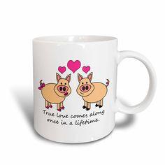 3dRose True Love Comes Along Once in a Lifetime ? Cute Pig Love Design * Visit the image link more details.