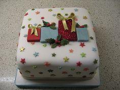 Christmas present cake. Love the little stars.
