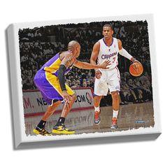 Chris Paul Dribbling Versus Kobe Bryant Stretched 22x26 Canvas Uns