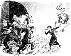 World War Two In Cartoons By ILLINGWORTH. The League Of Nations was in despair. As France and Britain were dealing with German aggression, Russia was picking on little Finland