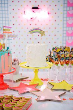 Neon Inspired Rainbow Cake From A Pastel Teen Birthday Party On Karas Ideas