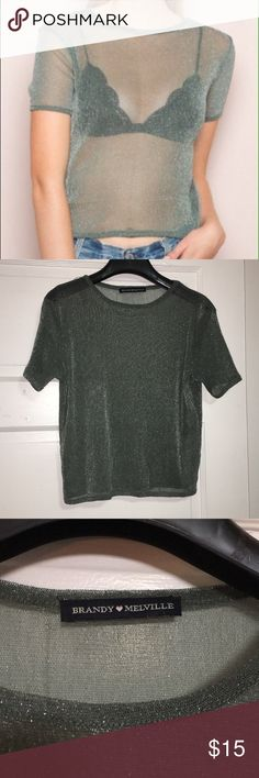 Brandy Melville Green Glitter Top Brandy Melville cropped sparkle mesh top in beautiful green - like new Brandy Melville Tops Crop Tops