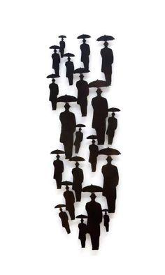 "Sculpture, ""Raining Men with Umbrellas Metal Wall Sculpture, Wall Sculptures, Metal Wall Art, Sculpture Art, Umbrella Man, Saatchi Gallery, Sculptures For Sale, Selling Art Online, Raining Men"
