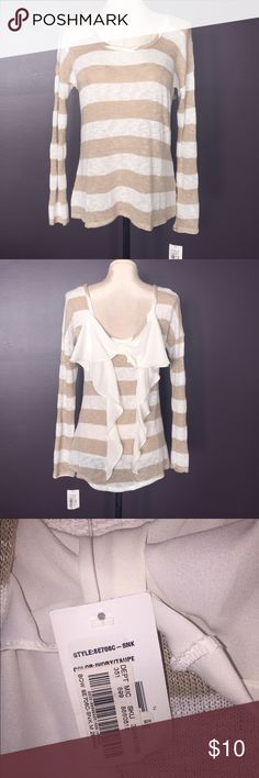dillards mm think striped sweater with bow new with tags white and nudebeige