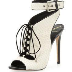 B Brian Atwood Lodosa Lace-Up Snake Sandal, White/Black