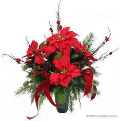 Christmas Cemetery Cone Poinsettia #179109 see viviano.com Flower Shop outdoor evergreen decoration