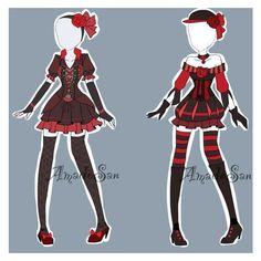 Manga Clothes, Drawing Clothes, Style Feminin, Anime Dress, Lolita, Dress Drawing, Anime Costumes, Image Manga, Fashion Design Sketches