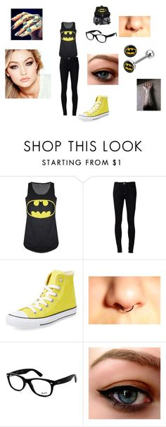 """batman is one of my favorite superheros tbh"" by shauniegibson ❤ liked on Polyvore featuring Ström, Converse, Ray-Ban and Maybelline"