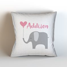 Custom Baby Girl Name Throw Pillow/ Pink Grey/ Elephant/ Custom Name/ Baby Girl/ Nursery Pillow/ Personalized/ Name Pillow/ Custom Color by KaliLaineDesigns on Etsy https://www.etsy.com/listing/223957496/custom-baby-girl-name-throw-pillow-pink