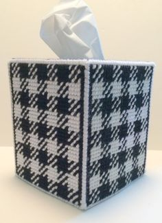 Black White Plaid Tissue Cover Boutique Plastic Canvas Father's Day Gift | eBay