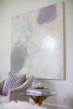 Love this painting - Sally Wheat's living room. Wonder who the artist is?