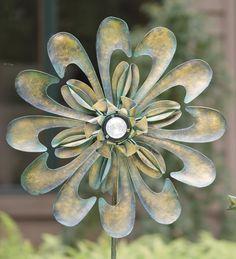 Antique Bronze #Solar #Flower #Wind #Spinner