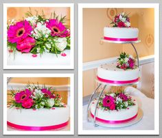 Bright pink 3 tier Wedding cake, topped with colour matching flowers.