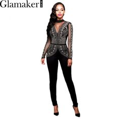 Promotion price Glamaker Spring mesh rhinestone applique sexy jumpsuit romper Open back elegant jumpsuit Slim club geometric printed playsuit just only $16.99 with free shipping worldwide  #womanjumpsuits Plese click on picture to see our special price for you