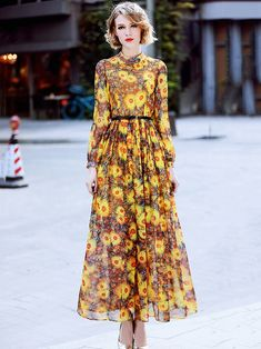 Buy Elegant O-Neck Long Sleeve Floral Print Belted Maxi Dress at DressSure.com Color:Yellow; Size:S, M, L, XL; Material:Polyester; Style:Casual; Silhouette:A-Line Dresses; Dresses Length:Ankle-Length; Sleeve Length:Long Sleeve; Neckline:O-Neck; Waistline:Empire; Decoration:Sashes; Pattern Type:Print; Characteristics:None; Season:Spring; Price: US$ 91.49