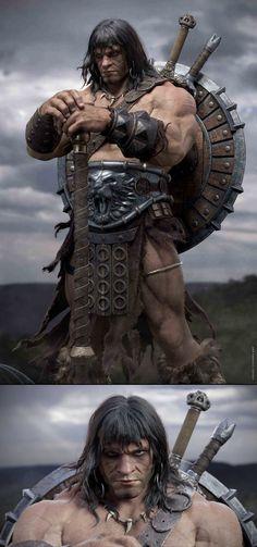 Fantasy Heroes, Fantasy Art Men, Fantasy Characters, Comic Books Art, Comic Art, Conan The Barbarian Comic, Conan The Destroyer, Larp, Conan Comics