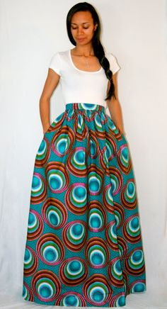 Love it African Print Maxi Skirt with pockets by MelangeMode on Etsy, $115.00