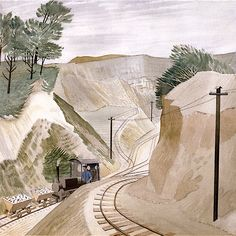 """The Cement Pit, by Eric Ravilious, June One of two cements pits near Furlongs, Glynde, Landscape Paintings, Tree Paintings, Stuart Crystal, Royal Marines, London Transport, Glass Design, Cement, Countryside, Mount Rushmore"