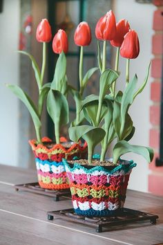 CROCHET: Bright jackets for plastic containers # double crochet stitch Crochet Vase, Love Crochet, Irish Crochet, Beautiful Crochet, Easy Crochet, Crochet Flowers, Slip Stitch Crochet, Crochet Stitches, Crochet Abbreviations