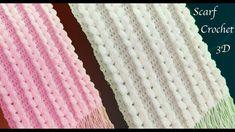 Bufandas tejidas a crochet punto trenzas verticales en 3D tejido tallerm...