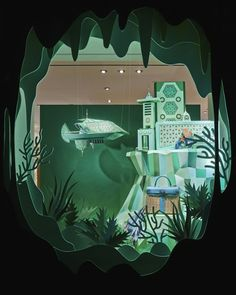 For New Hermès Store, Enchanting 'Atlantis' Window Display Made From Paper - DesignTAXI.com