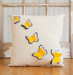 "Butterfly Pillow Cover, 3D felt applique on choice of natural linen or cream cotton, 16x16, 18x18"", Spring, Easter, Mother's Day, Nursery, by ThePillowGardenCo on Etsy"