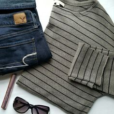 Joan Vass ☆ Striped Sweater Taupe and Black Stripes. 40% rayon. 29% nylon. 25% acrylic. 6% cashmere. Hand Wash. Never Worn. Joan Vass Sweaters