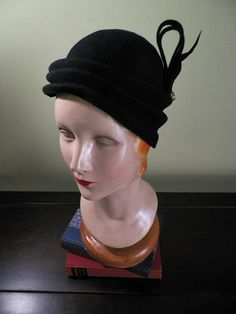 Black Hand Blocked Wool Cloche Style Cocktail Hat with Vintage Buttons, by Baubles & Whatnots, SOLD