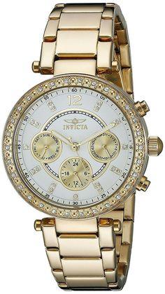 bb696696c8d4 Reloj Invicta Mujer Pulsera Gold Oro Crystal Woman Bracelet Silver Face  Hand Arm  Invicta