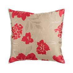 """Surya 18"""" Square Floral Red and Beige Throw Pillow (36 BAM) ❤ liked on Polyvore featuring home, home decor, throw pillows, ivory throw pillows, floral home decor, red throw pillows, beige throw pillows and square throw pillows"""