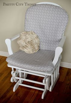 recover your glider rocker for a nursery!   Got to do this with one i picked up at a yard sale for $15