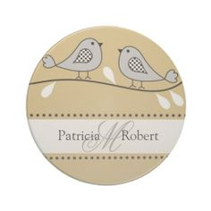 2 love birds share your joy and spread happiness on the #monogrammed #wedding #coasters with your custom monogram and names on it.