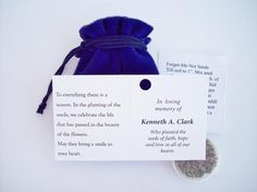 At the celebration of life give family and friends a plantable memorial of Forget-me-not Seed Packet in a beautiful velvet pouch. The attached card can be personalized for no additional charge. What a great celebration of life, Memorial Service idea. #funeralgift