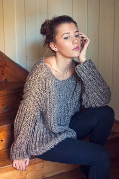 KNITTING PATTERN - Ribbed Knit Sweater - One Size - Loose Knit, Relaxed Fit - Instant Digital Download - PDF Pattern