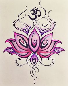 Lotus and Om Drawing lLOVE THIS AS IT IS MY FAVE COLOURS/