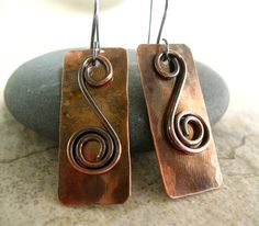 Copper Earrings Hammered Jewelry Rustic Handcrafted Earrings Mixed Metal Jewelry via Etsy