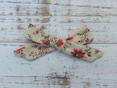 Beige Floral Poppy Bow / Handmade Petite Schoolgirl by DearFreya