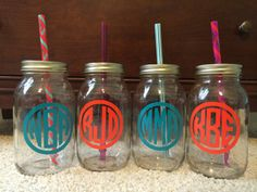 monogrammed mason jar tumblers from if the monogram fits if the