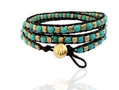 Good Luck Turquoise Leather Bracelet with Golden Beads and Spiritual Lotus Flower Button, Adjustable Size Gogh Jewelry Design. $19.00. Turquoise is believed to bring luck and to possess powers, including the ability to promote wealth, attract love and bring happiness. In ancient Persia it was once believed that the wearing of turquoise talismans would protect the wearer from death.. Our spiritual jewelry is also wearable for your day-to-day events. Each piece of yoga jewelry is ...