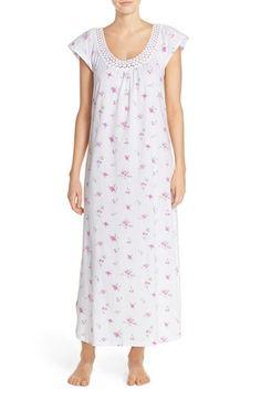 Carole Hochman Designs Lace Trim Floral Print Cotton Long Nightgown  6a2a467f7