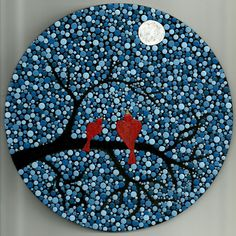 Love birds in the Moonlight - Dot Art - pointillism - acrylic painting - decor - Valentine's day gift Dot Art Painting, Rock Painting Designs, Mandala Painting, Ceramic Painting, Painting Patterns, Mandala Painted Rocks, Mandala Rocks, Mandala Canvas, Mandala Art