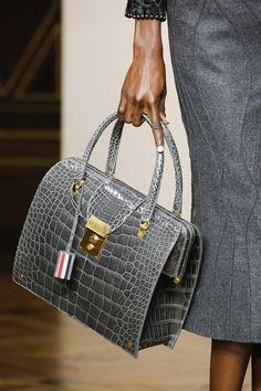 Thom Browne Need a grey bag this would fit the bill Stylish Handbags, Fashion Handbags, Tote Handbags, Purses And Handbags, Fashion Bags, Leather Handbags, Leather Purses, Sacs Design, Best Designer Bags