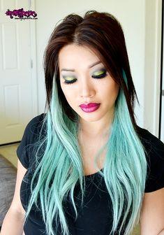 green hair | pastel hair mint pale green blue asian ombre rebel mac lipstick smokey ...