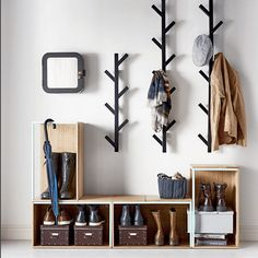 Avoid entryway clutter with open storage boxes for shoes and racks for hats and . Avoid entryway clutter with open storage boxes for shoes and racks for hats and jackets. Diy Coat Rack, Coat Racks, Coat Rack With Shelf, Clothes Hanger, Ikea Hooks, Tree Coat Rack, Coat Tree, Hanging Clothes, Home Organization