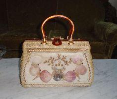 Vintage Atlas Princess Charming Basket Weave &Sea Shell Hand Bag w Carmel Lucite #PrincessCharmingByAtlas #HandBag
