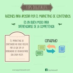 #TipsDigitales Razones para apostar por el marketing de contenidos. Es buen modo para diferenciarse de la competencia: se pueden seguir diferentes estrategias fuera de las tradicionales pues en el marketing de contenidos no existen reglas. Fuente: PuroMarketing  #MarketingDigital #SocialMedia